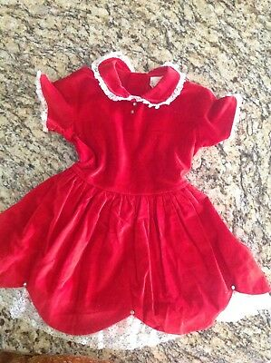 sz 5 Vtg 50s LIL AIRESS Red Cotton UNION MADE Christmas Dress  5T