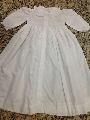 Vintage Victorian White Cotton Smocked Christening Baptism Infant Baby Gown