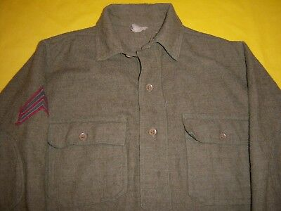 1917-1918 Usmc Cpl Army Issue Wool Olive Green Pullover Campaign Field Shirt
