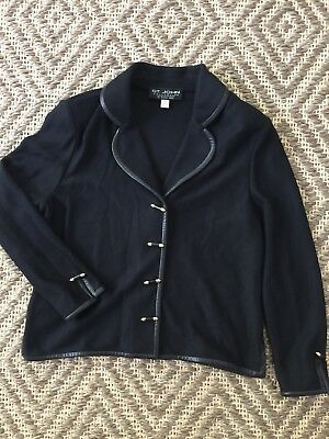 ST JOHN COLLECTION  Knit  Black Jacket Leather Trim Sz 6 Beautiful Buttons