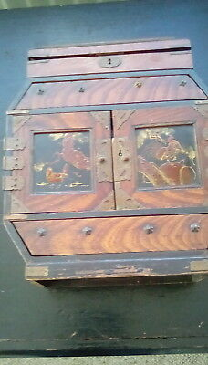 antique small cabinet chinoiserie inset in doors 6 drawers  octaganal shape