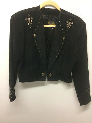 Scully Black Suede Leather Women's Western/Cowgirl Jacket Size 10