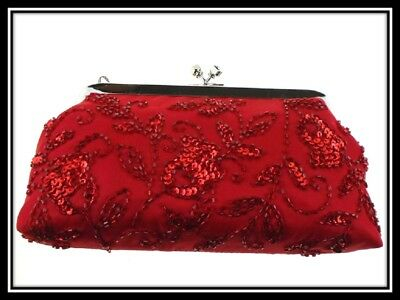 Farfalla Beaded Sequin Satin Evening Shoulder Clutch Pouch Bags 90372 Red