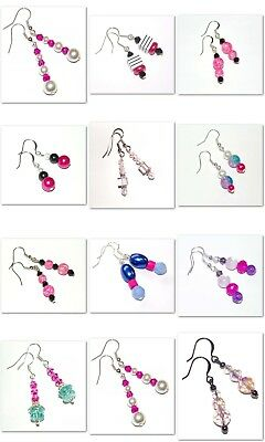 Earrings, Handmade Wholesale Lot of 12 Pair, Crystal-Crackle Glass L-102