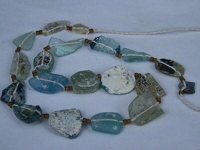 "Ancient Roman Glass Fragments Beads Strand C.200 Bc """"k760"""""