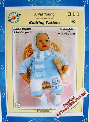 """1x DOLLS KNITTING PATTERN for ANNABEL or 18/""""//19/"""" doll  No.218 by Val Young"""