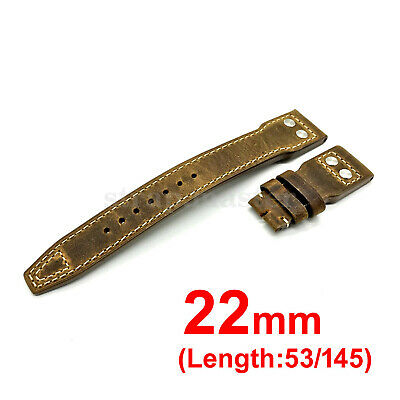 22mm Genuine Leather Crazy Horse Veg Brown Strap Band for IWC Big Pilot Watch