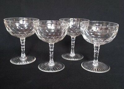 Good Set of 4 Antique Multi Faceted Champagne Saucers / Coupes / Glasses