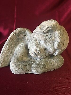 Concrete Cherub Angel Statue Yard Lawn Ornament Decor Vintage Wear DF