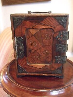 Antique Japanese Parquetry & Lacquer Mini Chest with Drawers