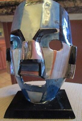 Mayan Mexican Semi Precious Gemstone Death Burial Mask Aztec Folk Art