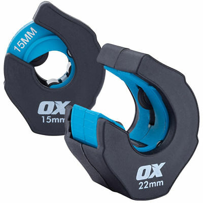 OX Pro Ratchet Copper Pipe Cutter 2pc 15mm & 22mm Ergonomic Surround Fast Cut