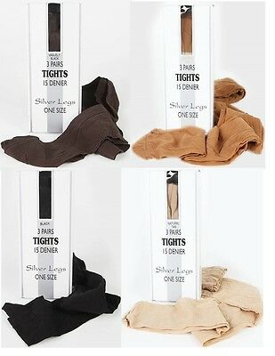 15 Denier, One Size Quality Italian Tights, 3 Pair Pack.,10 Colours,silver Legs.