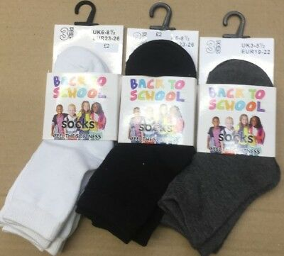 Back To School Ankle Socks 3 Pair Pack SIZE 3.5.5, 6-8, 9-12, 12.5-3.5