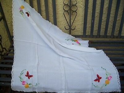 Gorgeous Vintage embroidered tablecloth Butterflies .