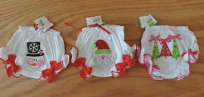 NWT Mud Pie Baby Girl Infant Xmas Christmas Tree Santa Claus Snowman Bloomers
