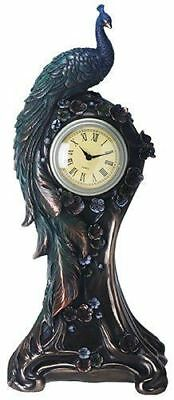 """Summit Bronze Finish Peacock Clock with Flower Detail 14.5"""" Height"""