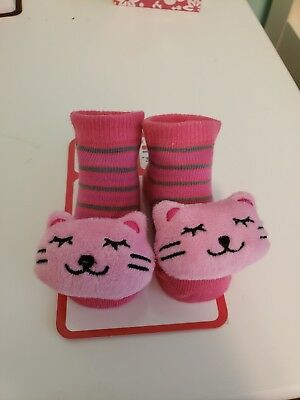 3D Cute animal socks pink cats size 0-12 months