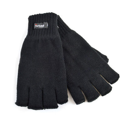 Mens GL131BK  Thinsulate Lining Fingerless Gloves By Heatguard Retail £2.99