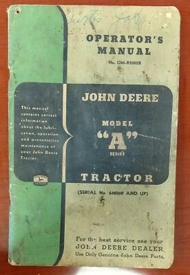 John Deere Model A Series Manual Owner's Operator's