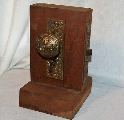 Antique Brass Door Knob Lock Display with Key Salesman Sample advertising