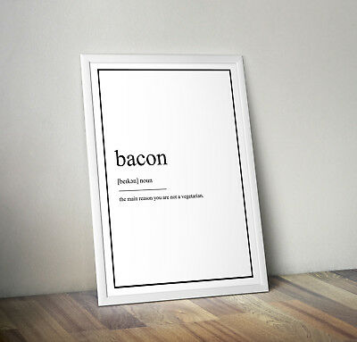 Bacon Definition Print, Home Decor, Minimalist Poster, Wall Art, Poster, gift