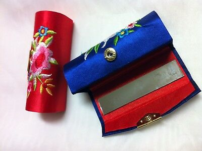 2/PCs Flower Design Retro Lipstick Case Brocade Embroidered Holder Box w/ Mirror