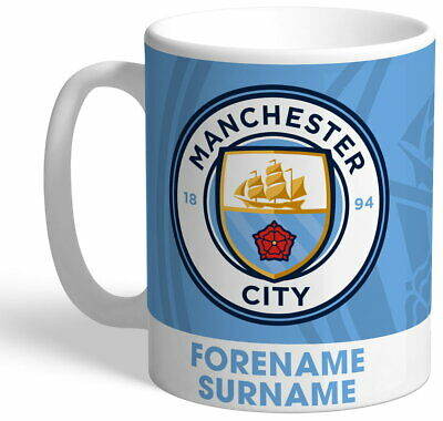 Personalised Manchester City FC Bold Crest Mug - Free Delivery