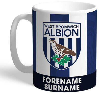 Personalised West Bromwich Albion FC Bold Crest Mug - Free Delivery
