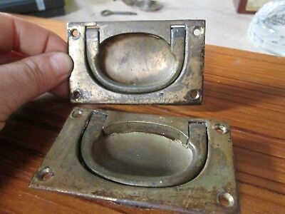 Pair of Antique Georgian Solid Brass Flush Box or Chest Campaign Handles