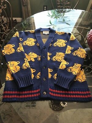 935dbeb46 100% AUTHENTIC 🐻GUCCI Teddy Bear 🐻 Jacquard Wool Cardigan $2200 ...