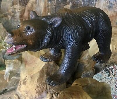 Beautiful Rare Antique Vintage Black Forest Bear with Protruding Glass Eyes