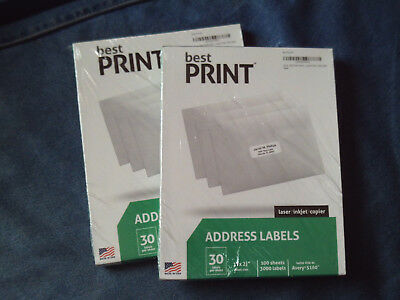 "6000 Address Labels Amazon FBA Labels 30 Per Sheet 30UP 1'' x 2 5/8"" 100 Sheets"