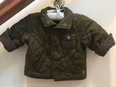Polo Ralph Lauren Boys Olive Green Quilted Jacket Size Baby Sz 9 Months