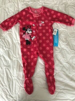 Disney Store Toddler Minnie Mouse One Piece Sleeper Bodysuit 2T 2 Years Baby