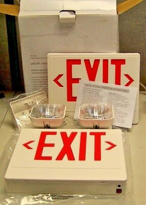 New Big Beam Led Exit Sign Emergency Light Combination 120/277 Vac Damp Loc