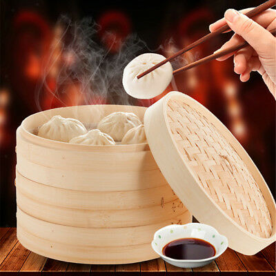 Chinese Bamboo Food Steamer Baskets with Lid Kitchen Food Cooking Tools 18cm