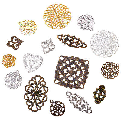 50PCS Brass Filigree Pendant Mix Shapes Mixed Color Connector for DIY Jewelry