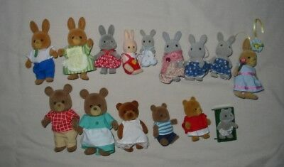 LOT of 15 Epoch CALICO CRITTERS Bears & Rabbits * 2 FLOCKED FURSKINS * 1980's