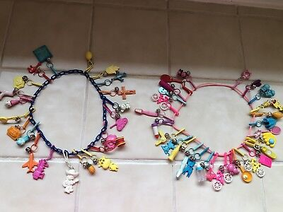 Vintage 80's  Plastic Bell Clip Charm Necklace - 49 Charms