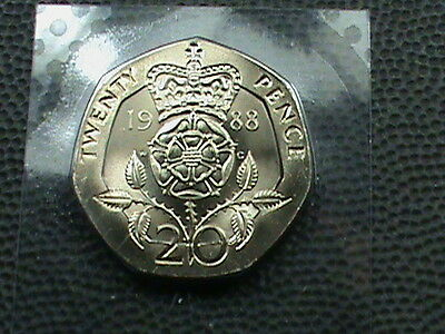 GREAT  BRITAIN   20 Pence  1988  UNCIRCULATED ,  $ 2.99 maximum shipping in USA