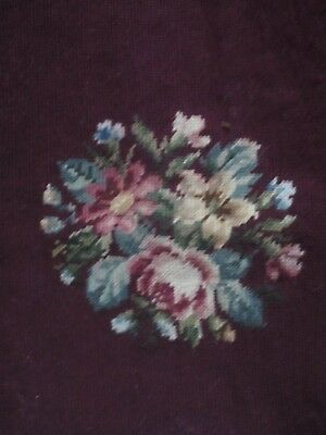 """Vintage/Antique floral Needlepoint completed 17"""" x 16 1/2"""""""