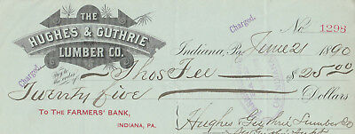 1890 Indiana ,pennsylvania  With Revenue Stamp