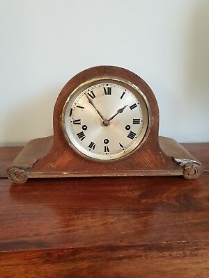 Antique 1930's Gustav Becker Solid Oak Mantle Clock with Key & Pendulum (Desk)