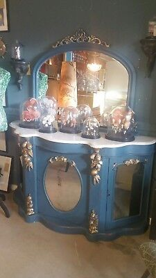Antique/Serpentine white marble topped credenza/sideboard painted in Annie Sloan