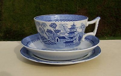 Blue & White Willow Pattern Trio, Cup, Saucer & Plate - Mason's Ironstone  #2