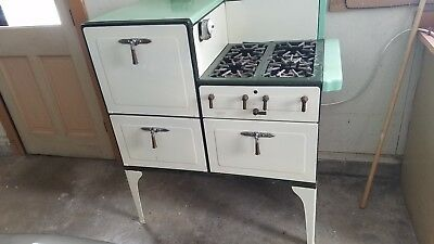 Vintage Tappan Gas Insulated Stove Teal Enamel Antique 1920 - 1930 4 burners