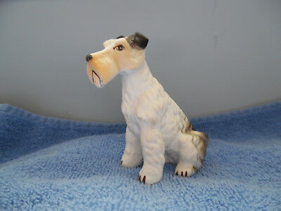 """Wire Haired Terrier Dog Porcelain Figurine 3.25"""" White Brown Black"""