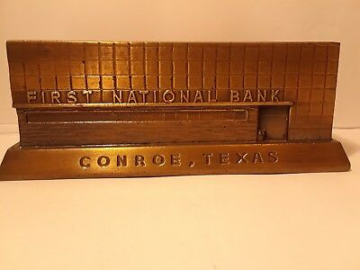 Vintage FIRST NATIONAL BANK CONROE TEXAS METAL BANK BANTHRICO CHICAGO, ILL