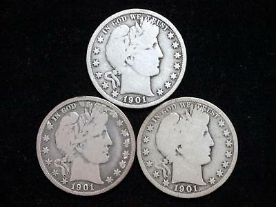 1901 P-O-S Mints Barber Half Dollars (Set Of 3) - Very Good Or Better